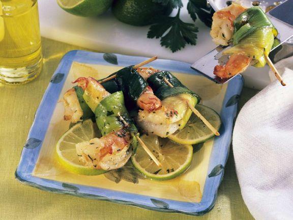 Lauch-Shrimps-Spießchen