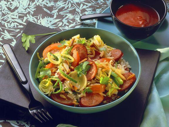 Lauchgemüse mit Reis und Wurst
