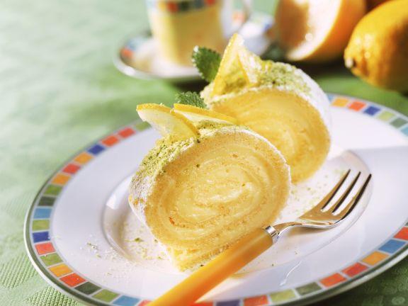 Leichte Zitronen-Biskuitroulade