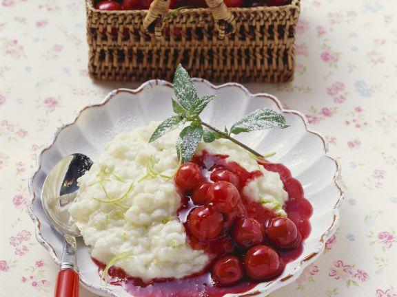 Limettenmilchreis mit Kirschkompott