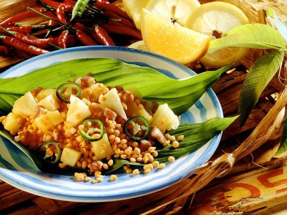 Linsen mit Ananas und Chili