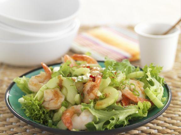 Lollo Biondo mit Gambas und Salatgurke