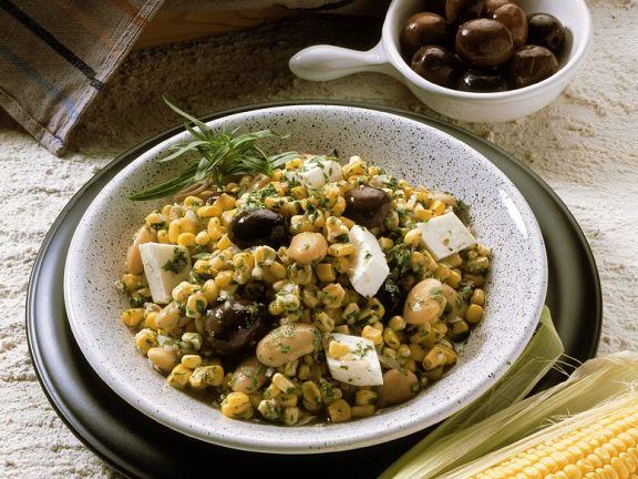 Mais-Bohnensalat mit Käse