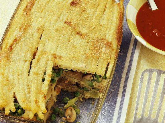 Makkaroni-Pilz-Auflauf (Lasagne)