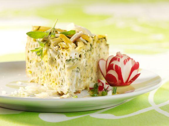Makkaroni-Torte mit Radieschendressing