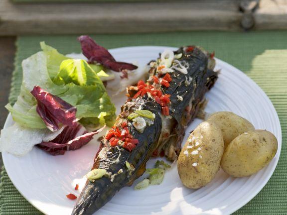 Makrele vom Grill mit Pellkartoffeln