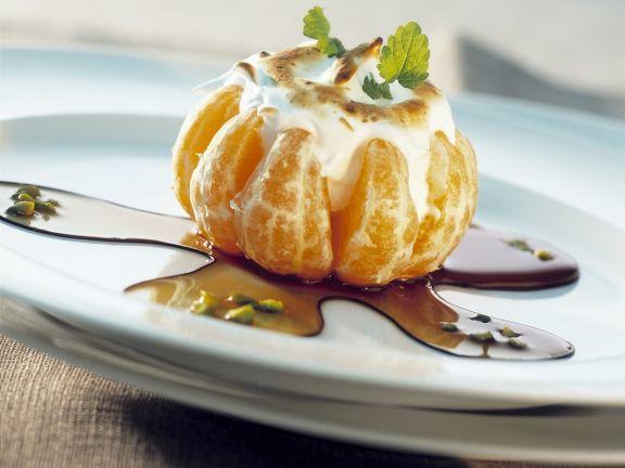 Mandarine mit Vanilleeis-Baiser-Füllung
