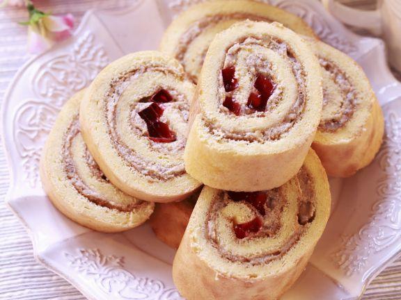 Marmeladen-Biskuitrolle