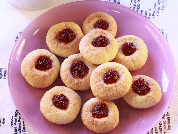 Weihnachtsplätzchen Klassische Rezepte.Marmeladen Kokos Plätzchen