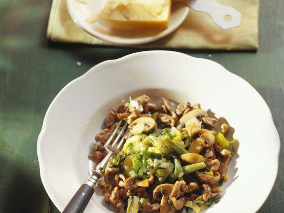 Maroni-Spätzle mit Pilzen
