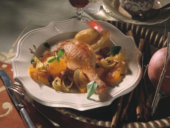 Martinsgans mit Orangen und Zwiebeln