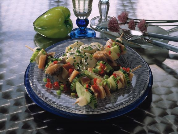 Matjesspieße mit Kartoffelsalat