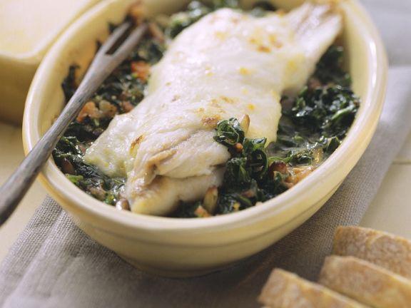 Meeräsche mit Spinat
