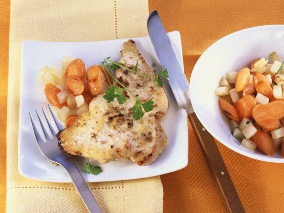 Meerrettich-Putenschnitzel mit Gemüse