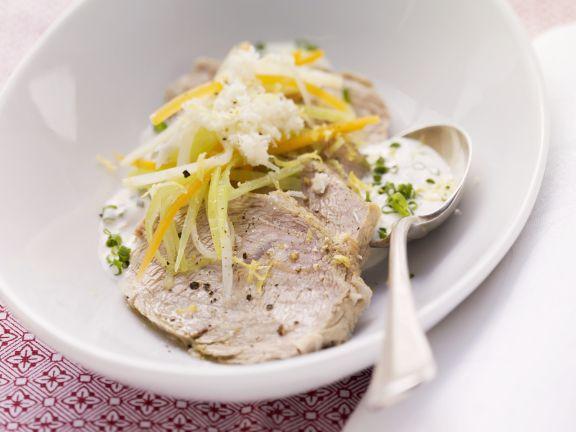Meerrettichfleisch mit Gemüse und Schnittlauch-Dip