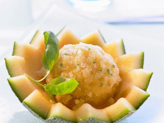 Melonen-Basilikum-Sorbet