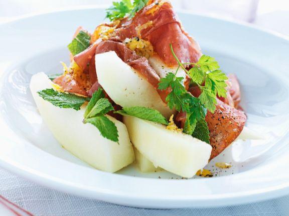 Melonensalat mit Schinken