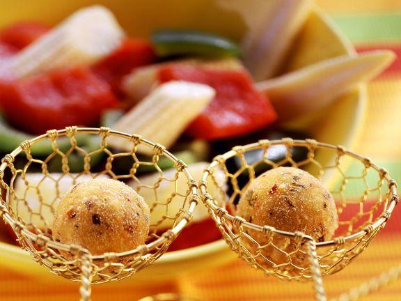 Mexiko-Fondue mit Polentabällchen und Gemüse
