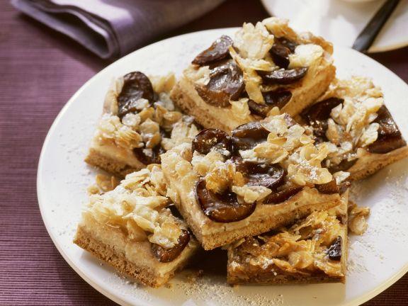 Milchreis-Zwetschgen-Kuchen mit Mandeln