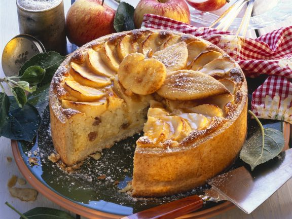 Milchreiskuchen mit Apfel