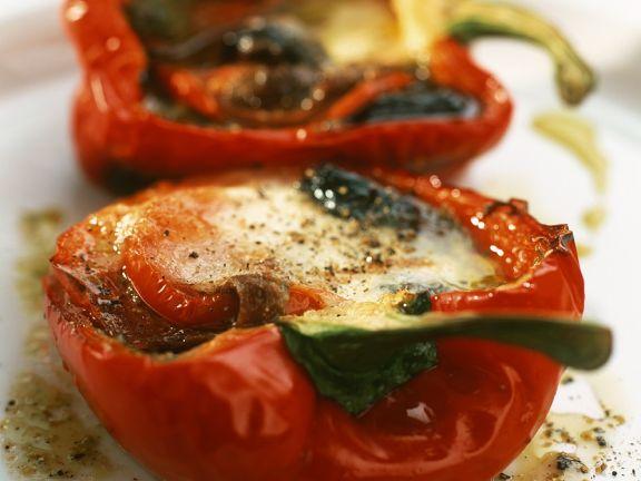 Mit Thunfisch gefüllte Paprika