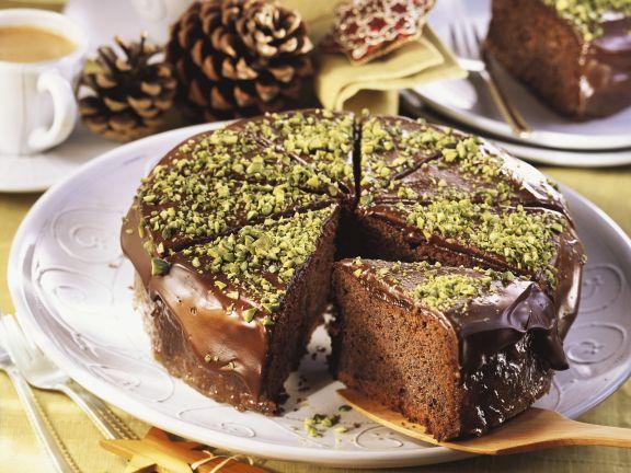 Mohn-Schoko-Torte mit Pistazien