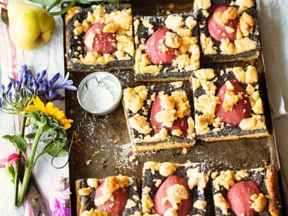 Mohnkuchen mit Birnen