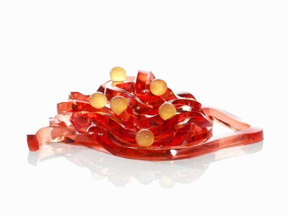 Molekularküche: Campari-Tagliatelle mit Orangensaftsphären