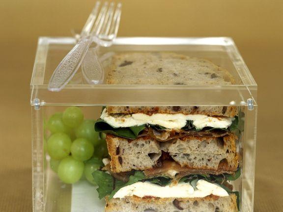 Mozzarella-Schinken-Brot