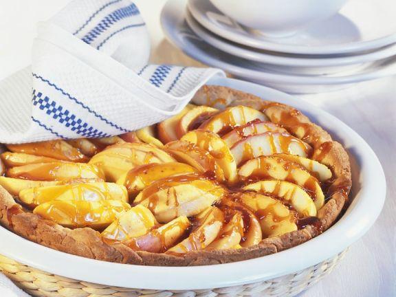 Mürbeteig-Apfelkuchen mit Karamell