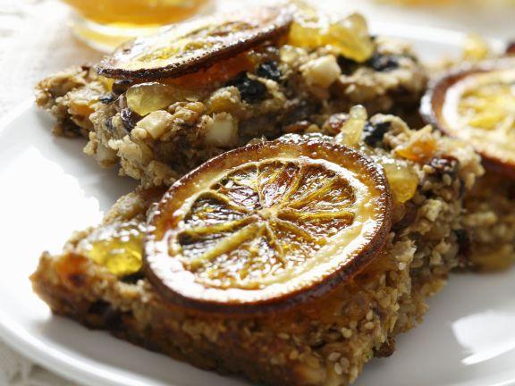 Müslischnitten mit Orangenkonfitüre