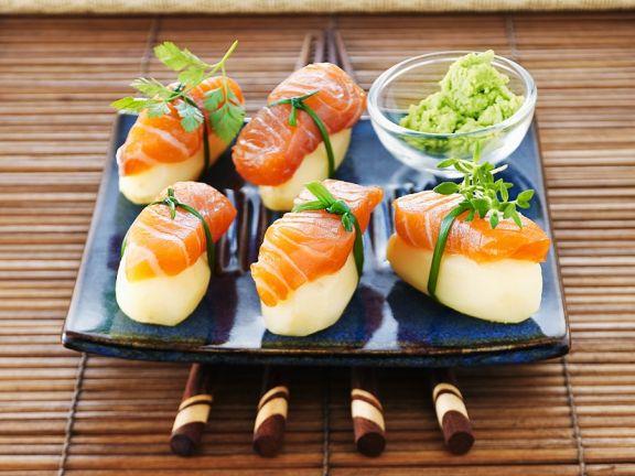 Nigiri mit Kartoffel und Lachs