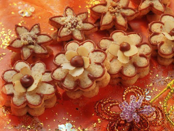 Nougat-Blumen-Plätzchen