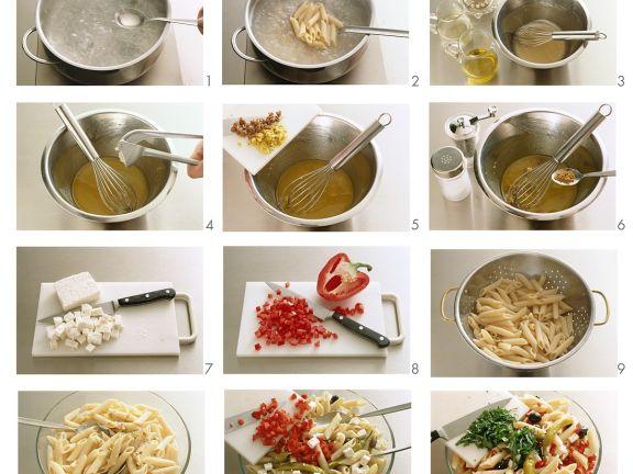 Nudel-Gemüse-Salat mit Feta