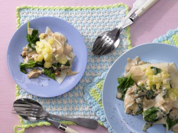 Nudeln mit Spinat und Käse