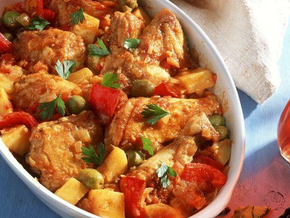 Ofengebackenes Hähnchen mit Gemüse