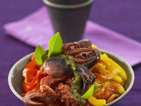 Oktopus mit Paprika