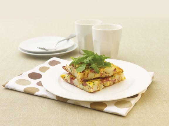 Omelett mit Cornedbeef und und Kartoffeln