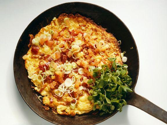 Omelett mit Salami und Kartoffeln