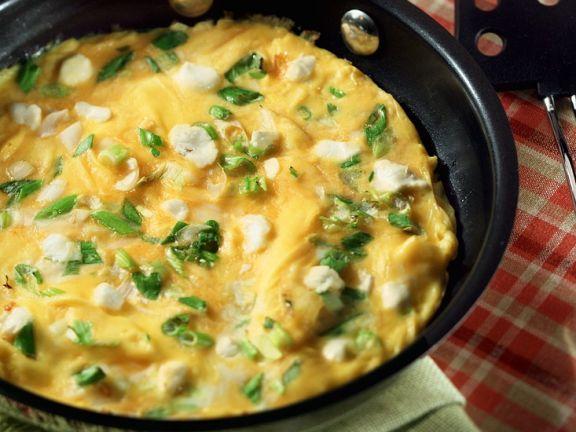 Omelett mit Schafskäse und Frühlingszwiebeln