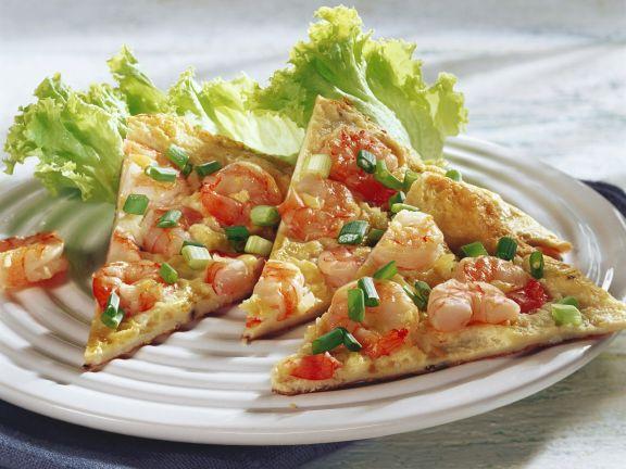Omelett mit Shrimps