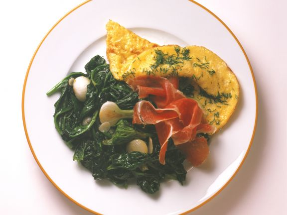 Omelett mit Spinat und Parmaschinken