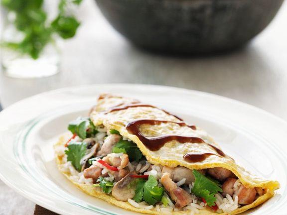 Omelette mit Hähnchenfüllung