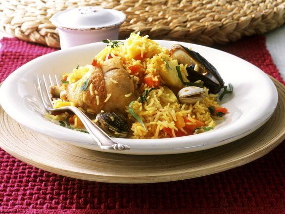 Paella mit Früchten