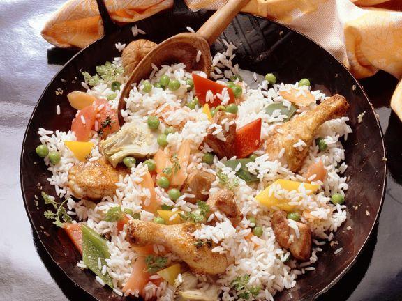 Paella mit Geflügel