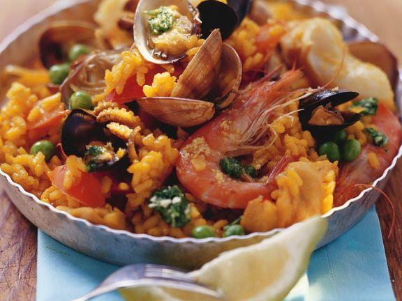Paella mit Pesto