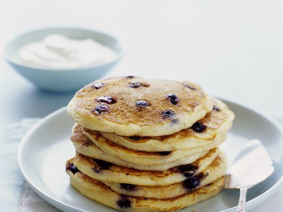 Pancakes mit Blaubeeren