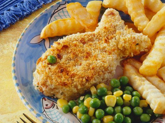Panierte Fischfilets mit Erbsen-Maisgemüse