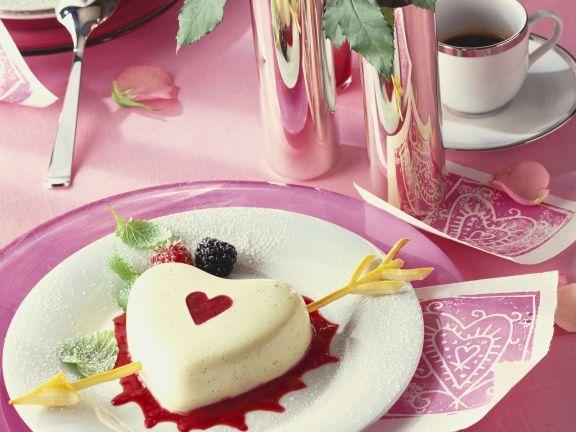 Panna cotta zum Valentinstag