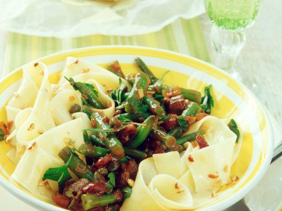 Pappardelle mit Bohnen-Pilz-Ragout